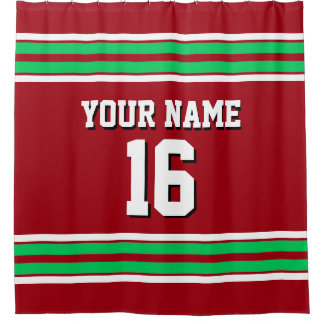 Cranberry Red Emerald Green Stripes Sports Jersey Shower Curtain