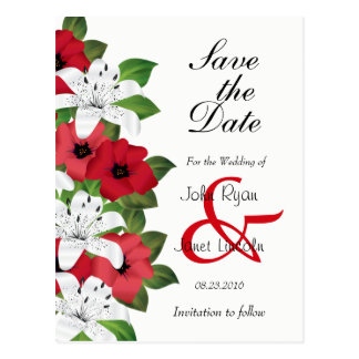 Cranberry Red Flower  - Save The Date Postcard