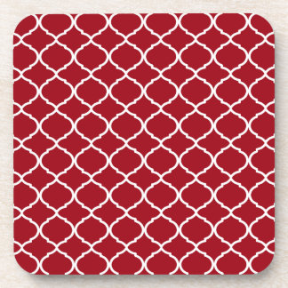 Cranberry Red Moroccan Pattern Coaster