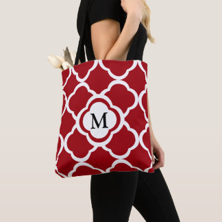 Cranberry Red Quatrefoil Floral Pattern Monogram Tote Bag