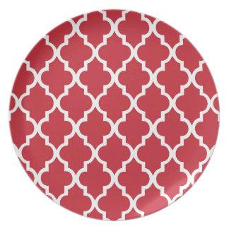 Cranberry Red Quatrefoil Tiles Pattern Plate