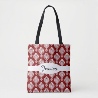 Cranberry Red & White Damask Pattern Tote Bag