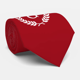 Cranberry Red White Laurel Wreath Initial Monogram Tie