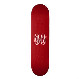 Cranberry Red Wht 3 Initials Vine Script Monogram Skateboard Deck