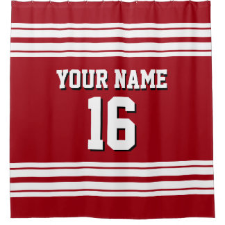 Cranberry Red with White Stripes Sports Jersey Shower Curtain