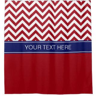 Cranberry Red Wt LG  Chevron CB Navy Name Monogram Shower Curtain
