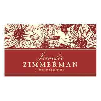 Cranberry Sunflowers Floral Business Card