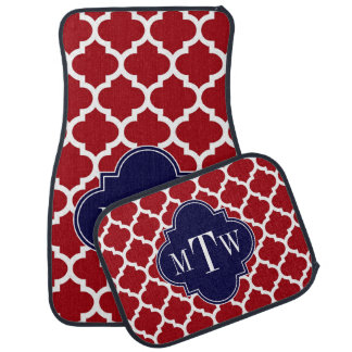Cranberry Wht Moroccan #5 Navy Blue Name Monogram Car Mat