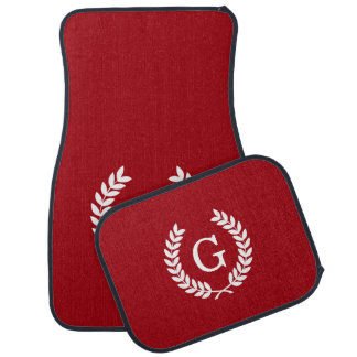 Cranberry Wht Wheat Laurel Wreath Initial Monogram Car Mat