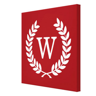 Cranberry Wht Wheat Laurel Wreath Initial Monogram Gallery Wrapped Canvas