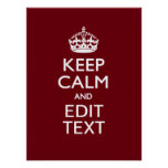 Cranberry Wine Burgundy Keep Calm and Your Text Poster