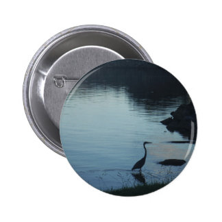 Crane at the Lake at Sunset Pinback Buttons