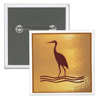 Crane Bird Prey Lake  - Medal Icon Gold Base 15 Cm Square Badge