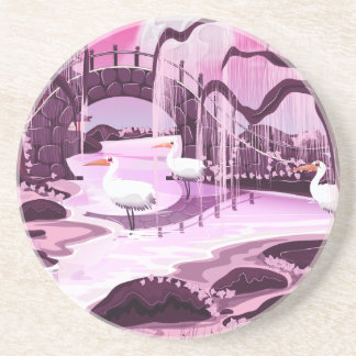 Crane Birds in the Korean Garden Coaster