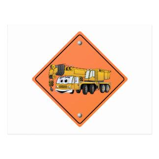 Crane Cartoon Construction Sign Postcard