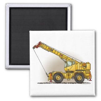 Crane Construction Equipment Square Magnet