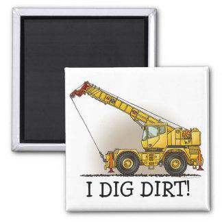 Crane Construction Equipment Square Magnet I