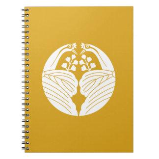 Crane dividing paulownia notebook
