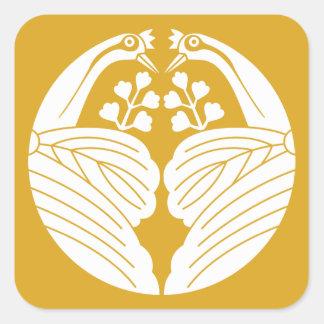 Crane dividing paulownia square sticker