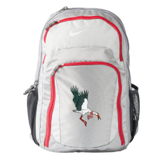 Crane Flying Wearing A Red And White Scarf Backpack