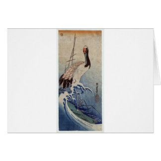 Crane in Waves by Hiroshige Card