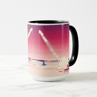 Crane Operating Engineer Art ICE FISHING ART Mug