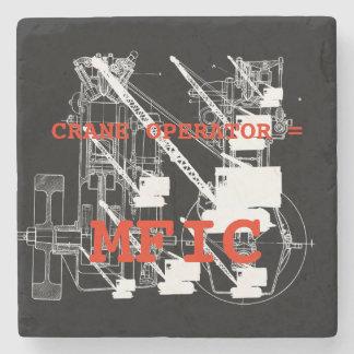 Crane operator = MFIC VINTAGE CRAWLER CRANE white Stone Coaster