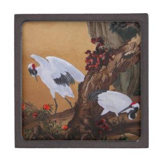 Crane Pair Under a Tree Premium Trinket Box