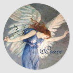 Crane's Angel of Peace Christmas Round Stickers