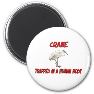 Crane trapped in a human body refrigerator magnets