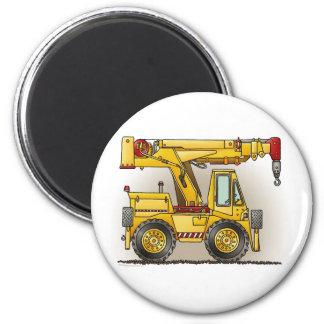 Crane Truck Round Magnet