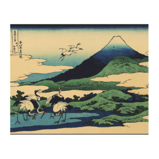 Cranes and Mountain in Clouds Wood Wall Decor