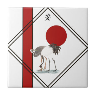 Cranes and Tranquillity Small Square Tile