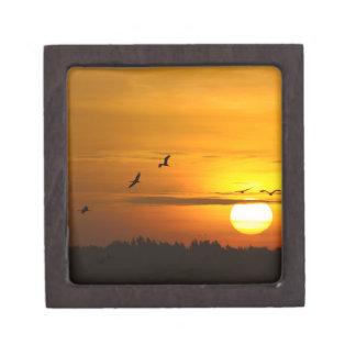 Cranes at sunrise premium jewelry box