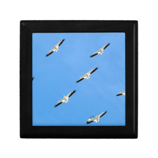 Cranes Flying on Blue Sky Small Square Gift Box
