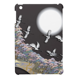 Cranes, moon and pines cover for the iPad mini