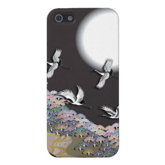 Cranes, moon and pines iPhone 5 cases