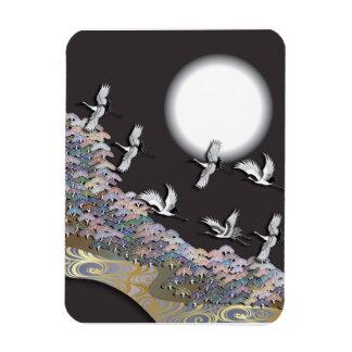 Cranes, moon and pines rectangular photo magnet