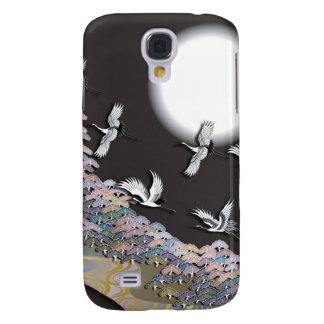 Cranes, moon and pines samsung galaxy s4 covers