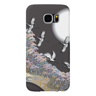 Cranes, moon and pines samsung galaxy s6 cases