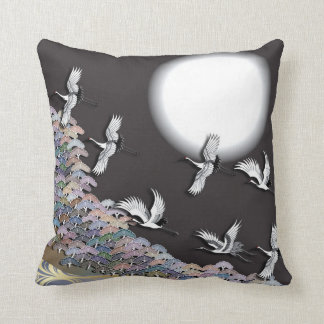 Cranes, moon and pines throw pillow