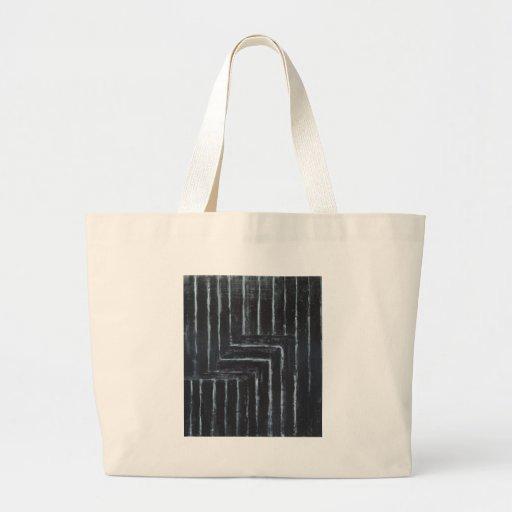 Cranked Stripes (Black minimalism) Canvas Bags