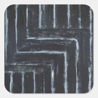 Cranked Stripes (Black minimalism) Square Sticker