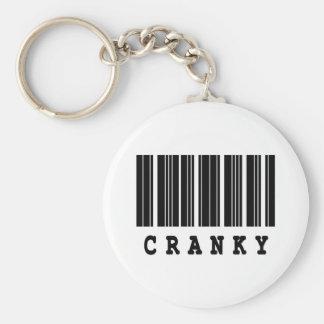 cranky barcode design basic round button key ring
