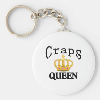 Craps Queen Basic Round Button Key Ring