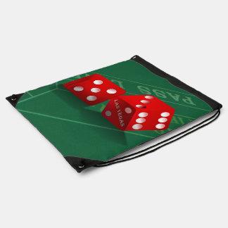 Craps Table & Las Vegas Dice Drawstring Backpacks