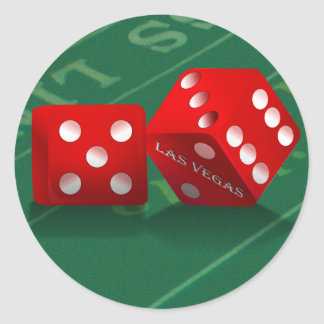 Craps Table With Las Vegas Dice Round Sticker