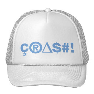 Crash Blue on White Cap Trucker Hat