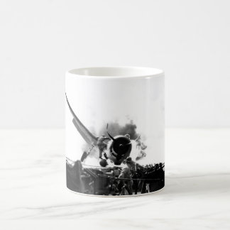 Crash landing of F6F on flight deck of_War Image Basic White Mug