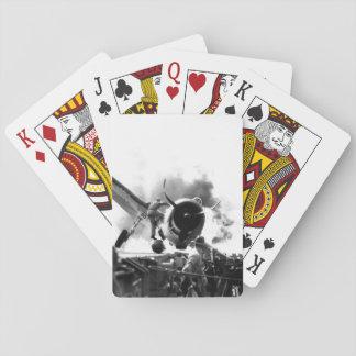 Crash landing of F6F on flight deck of_War Image Card Deck